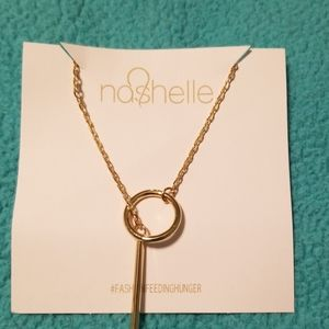 Gold toned lariat necklace